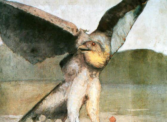 Study of a Sparrow Hawk in a Decorative Landscape (Étude d'un épervier dans un paysage ornemental)