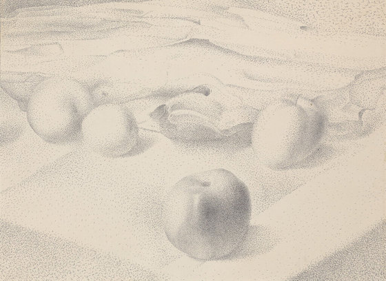 Four Apples on Tablecloth