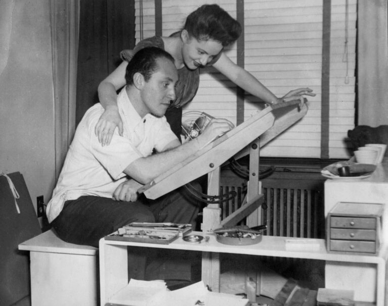 <p>Oscar and Mimi at the drafting table in Montreal, c. 1943, The Cahén Archives, Toronto.</p>
