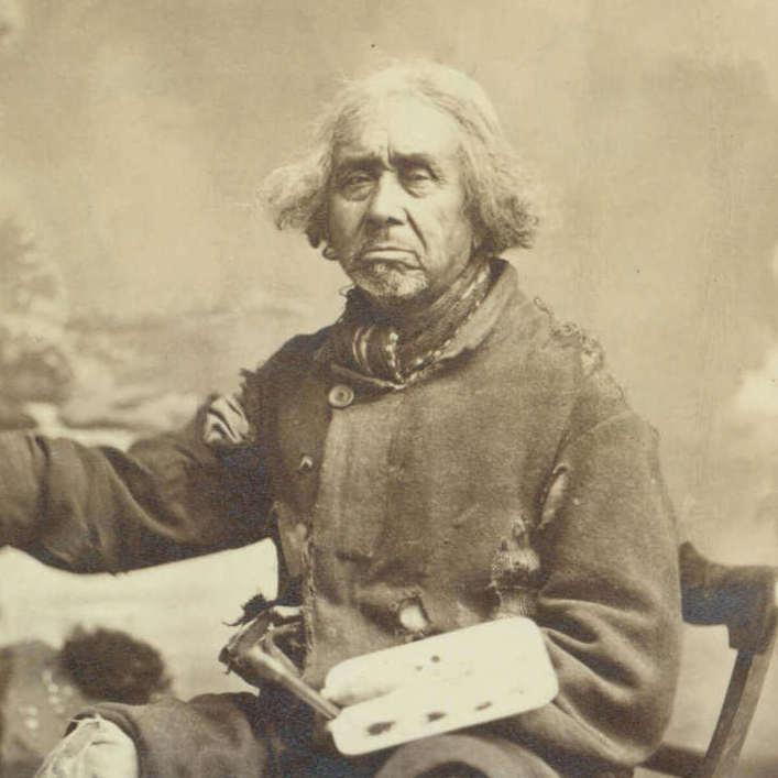 <p>Zacharie Vincent travaillant devant son chevalet à un autoportrait, photographié par Louis-Prudent Vallée, v.1875-1878, papier albuminé, 9,8 x14,5cm, Université de Montréal.</p> <p></p> <p>Bandeau :Zacharie Vincent,<em>Zacharie Vincent Telari-o-lin, chef huron et peintre</em>, v.1875-1878, huile et mine de plomb sur papier, 92,7 x70,8cm, Château Ramezay, Montréal.</p>