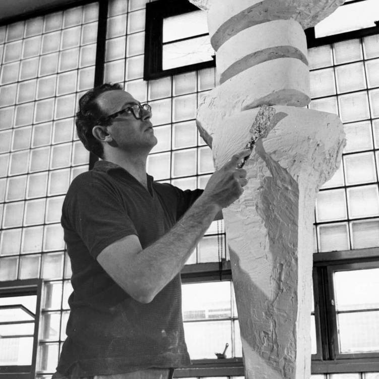 <p>Sorel Etrog working on a plaster cast of<em>Embrace</em>, 1961–64, early 1960s, photograph by Paul Smith,Edward P. Taylor Library and Archives, Art Gallery of Ontario, Toronto.</p> <p></p> <p>Banner: Sorel Etrog and Samuel Beckett signing<em>Imagination Dead Imagine</em>, 1982, in Beckett's Paris studio, photograph by Michael Nguyen.</p>