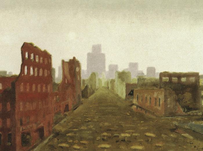 Jean Paul Lemieux, The Aftermath/La ville détruite, 1968