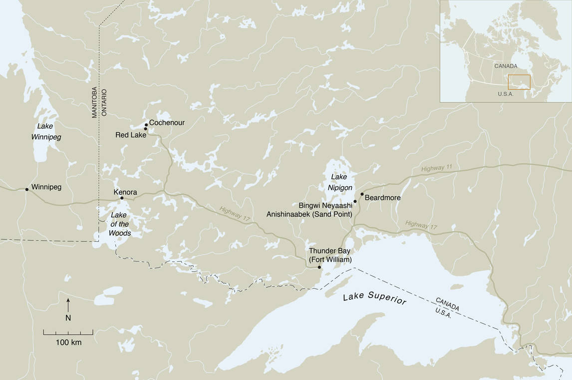 Art Institute Canada, map of Northern Ontario showing the communities where Norval Morrisseau lived