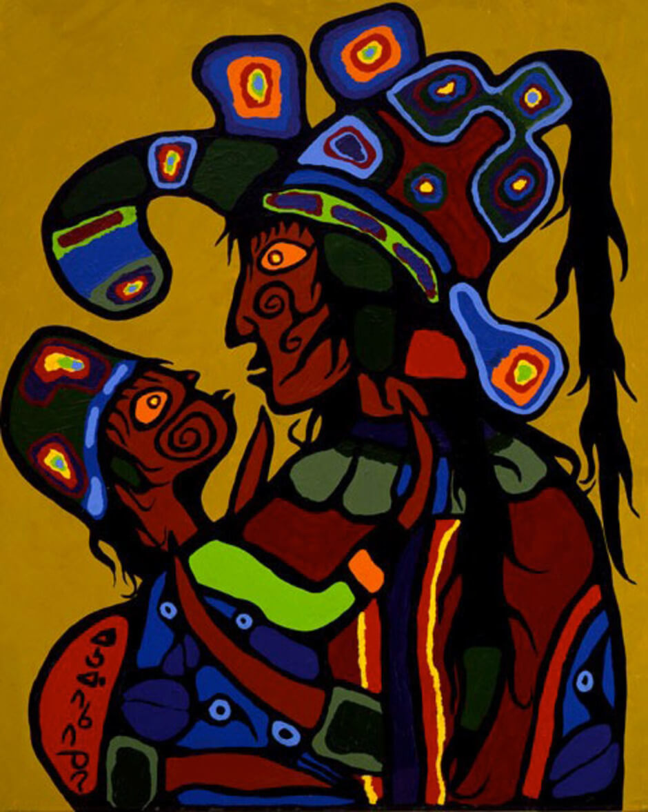 Art Institute Canada, Norval Morrisseau, Artist's Wife and Daughter, c. 1975