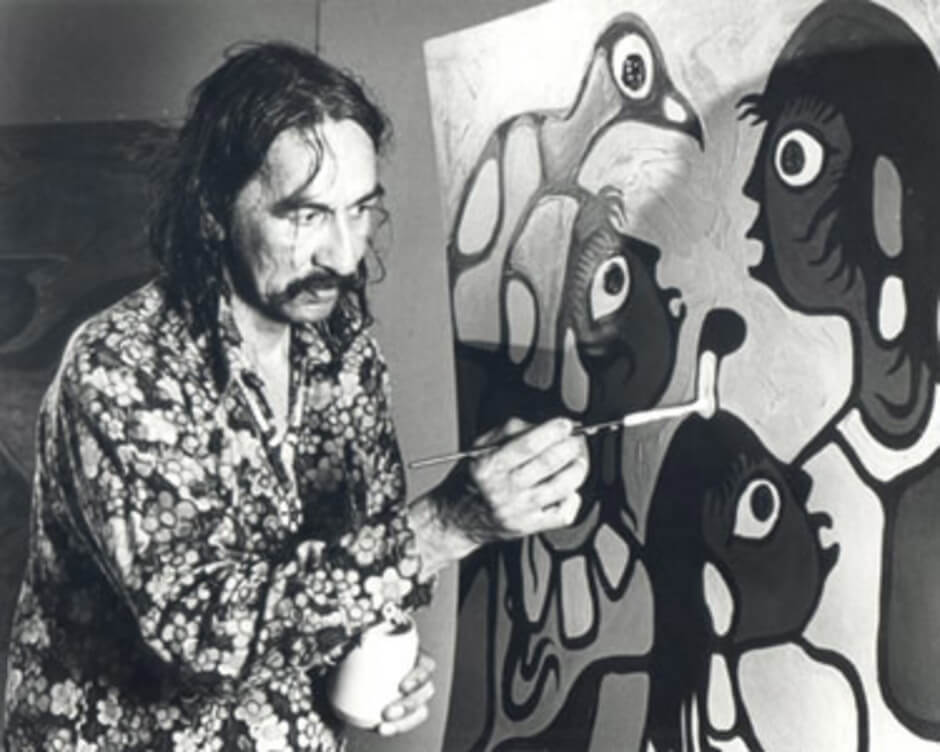 Art Canada Institute, Norval Morrisseau working on a painting while artist in residence at the McMichael Canadian Art Collection in 1979