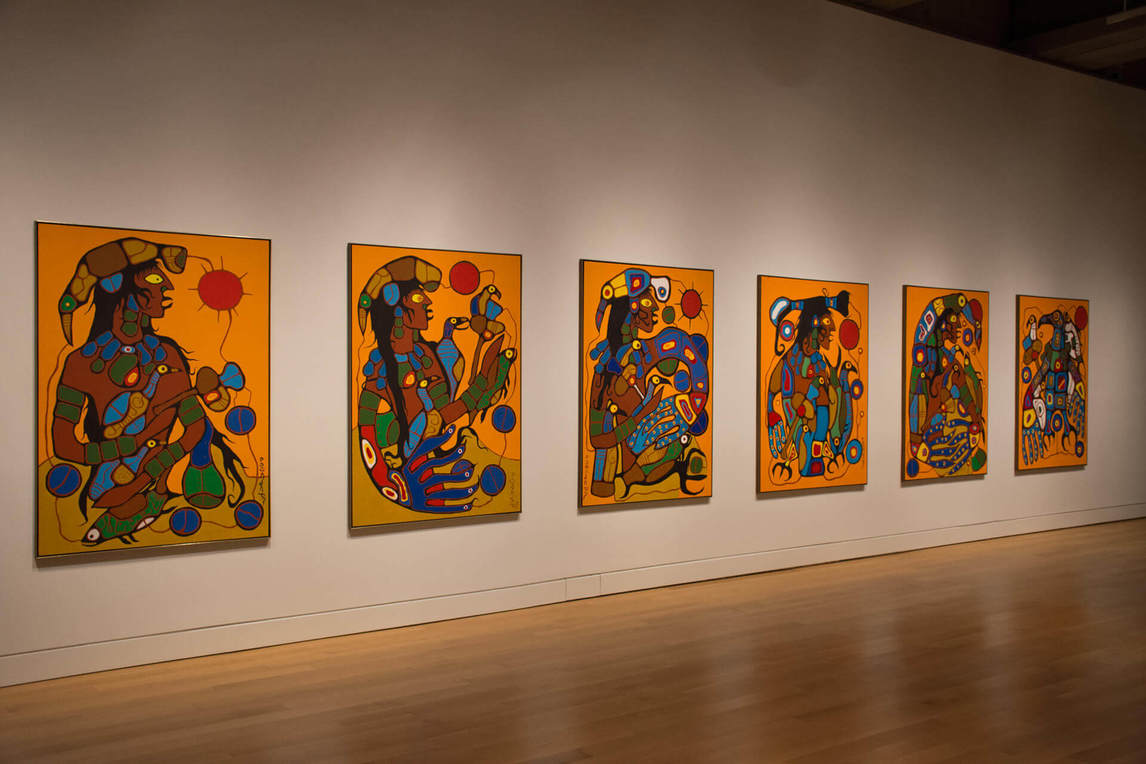 Art Canada Institute, Norval Morrisseau, Installation view of all six panels of Norval Morrisseau, Man Changing into Thunderbird, 1977