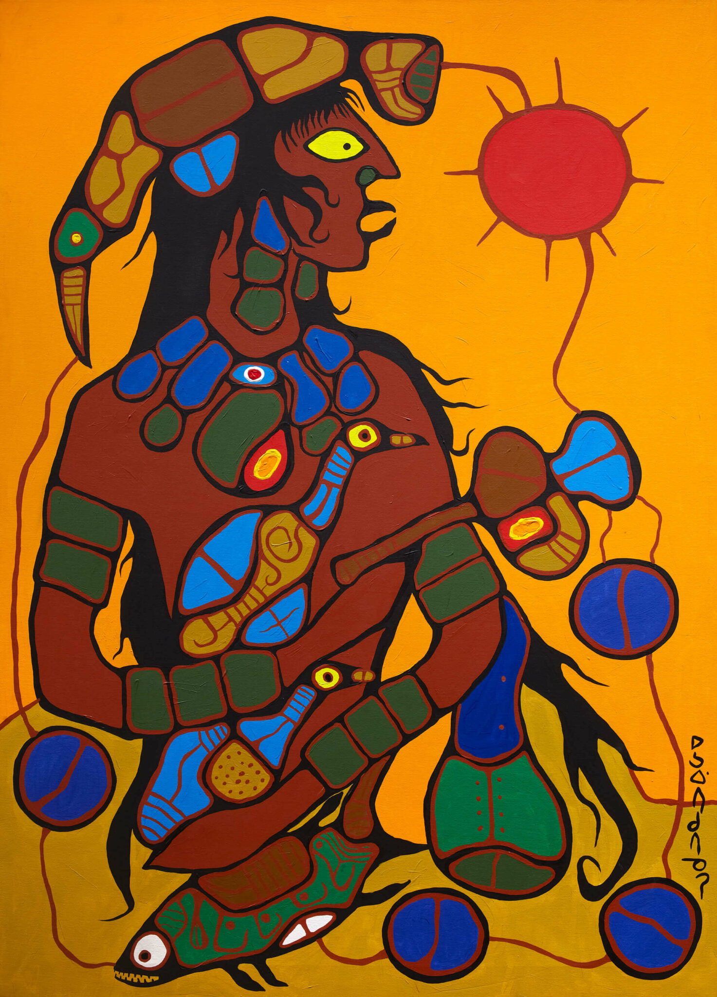 Norval Morrisseau, Man Changing into Thunderbird, 1977