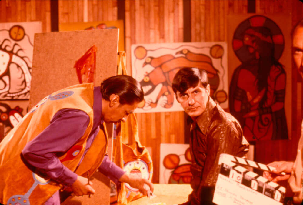 Art Institute Canada,  Film still of Norval Morrisseau and Jack Pollock from the National Film Board documentary The Paradox of Norval Morrisseau, 1974