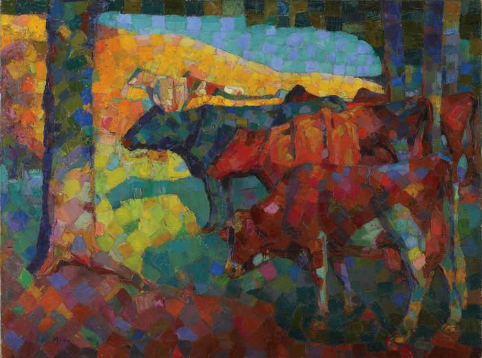 Kathleen Munn, Untitled (Cows on a Hillside), c. 1916