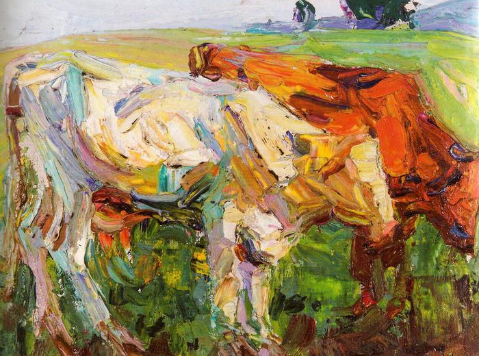 Kathleen Munn, Untitled (Study of Cows), c.1910