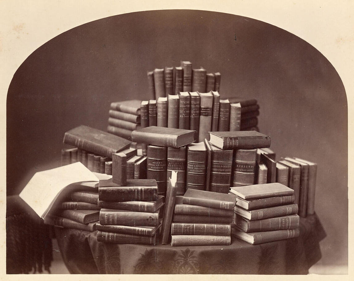 Art Canada Institute, Attributed to William Notman, Still Life with Books, 1870s–80s