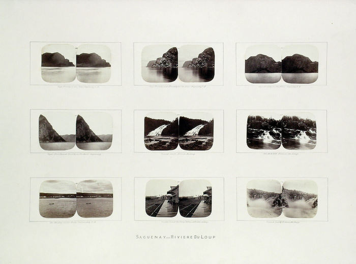 William Notman, Groupe de stéréogrammes provenant de la boîte d'érable, Saguenay et Rivière-du-Loup (Québec), 1859-1860