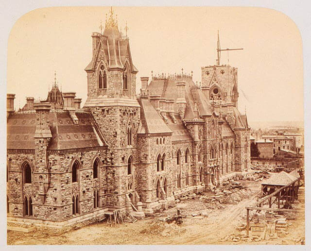 Art Canada Institute, William Notman, Parliament Buildings in Course of Erection at Ottawa, 1865
