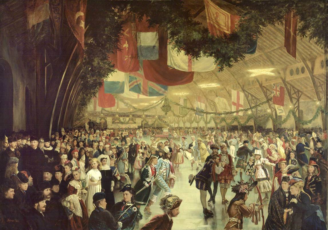 Art Canada Institute, William Notman, Skating Carnival, Victoria Rink, 1870