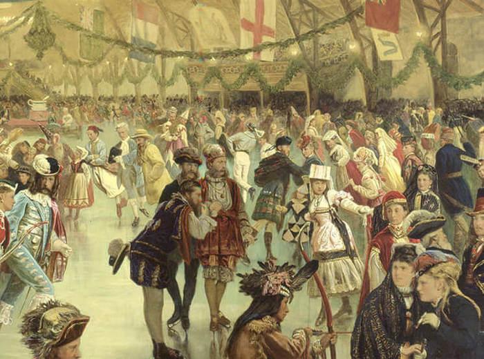 William Notman, Carnaval de patinage, patinoire Victoria, Montréal, 1870