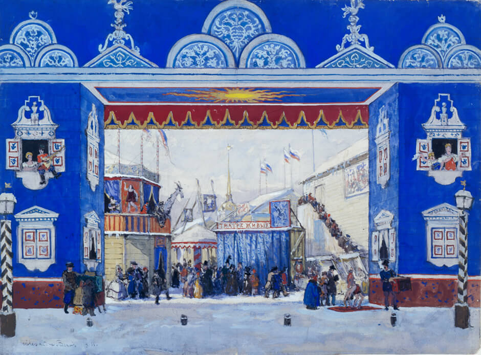 "Art Canada Institute, Alexandre Benois, Draft Set Design for Tableau I of Petroushka: ""Admiralty Square, 1830.A Sunny Morning in Winter,"""