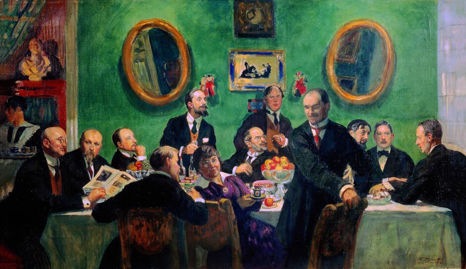 Art Canada Institute, Boris Kustodiev, Group Portrait of the Mir Iskusstva Artists. A Study for an Unpainted Picture, 1916–20