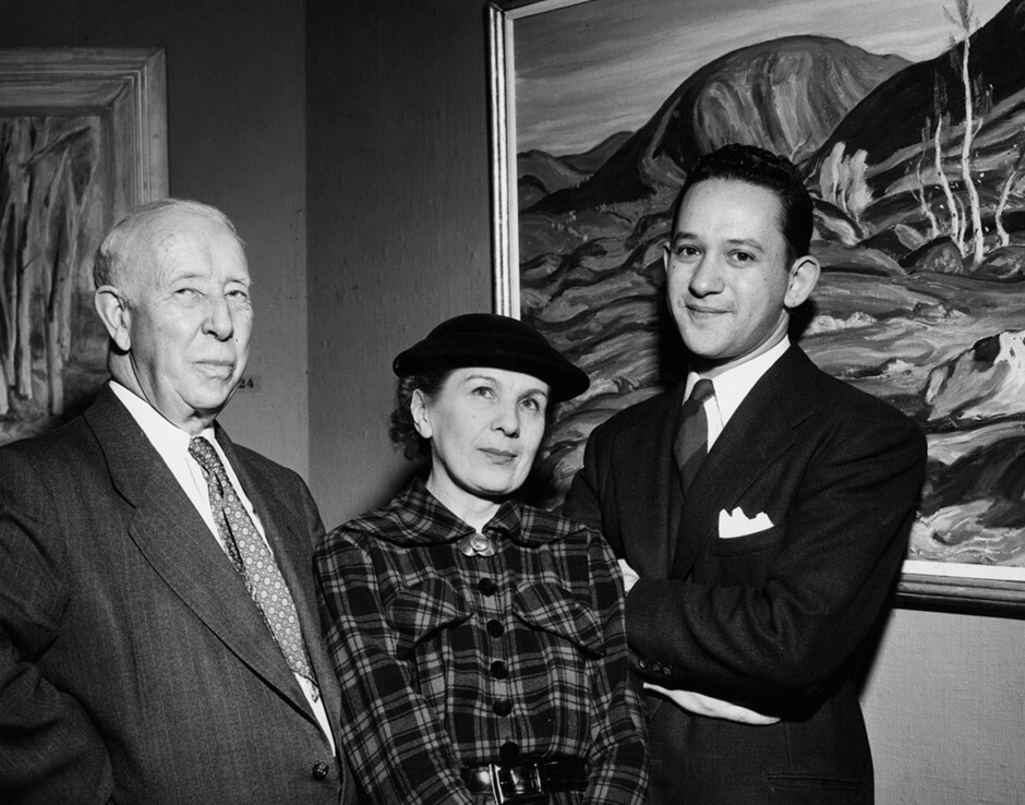 Art Canada Institute, A.Y. Jackson, Paraskeva Clark, and Jack Nichols. Opening for a Canadian Group of Painters exhibition, Art Gallery of Toronto, 1953.