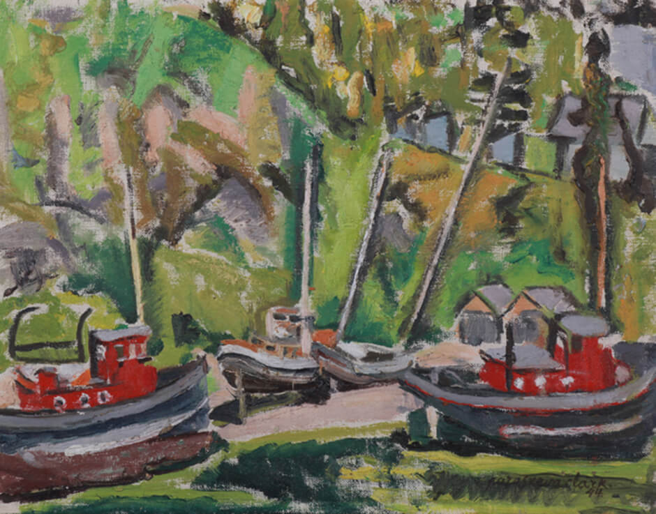 Art Canada Institute, Paraskeva Clark, Sketch for Tadoussac, Boats in Dry Dock, 1944