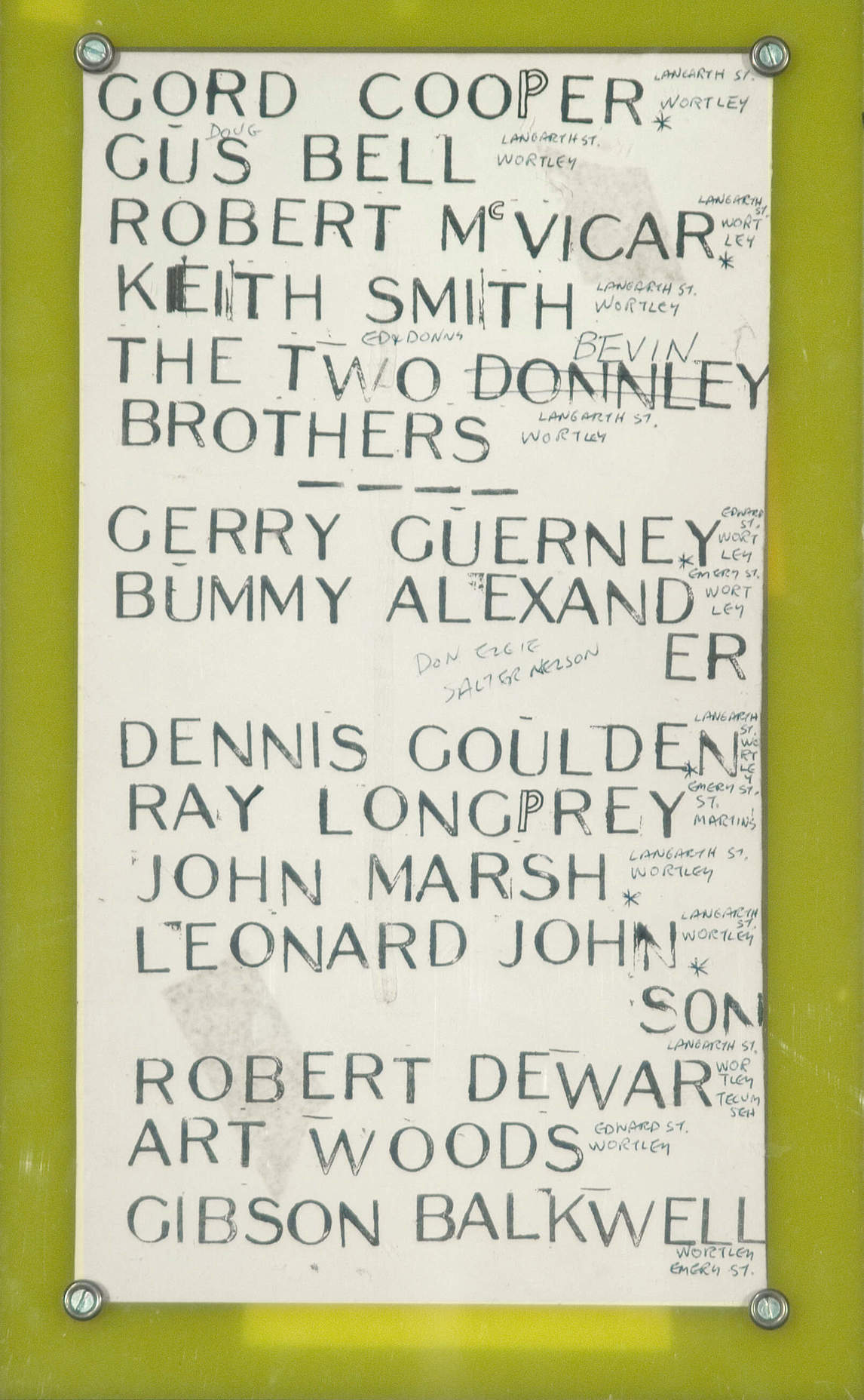 Art Canada Institute, Greg Curnoe, List of Names from Wortley Road School, 1962
