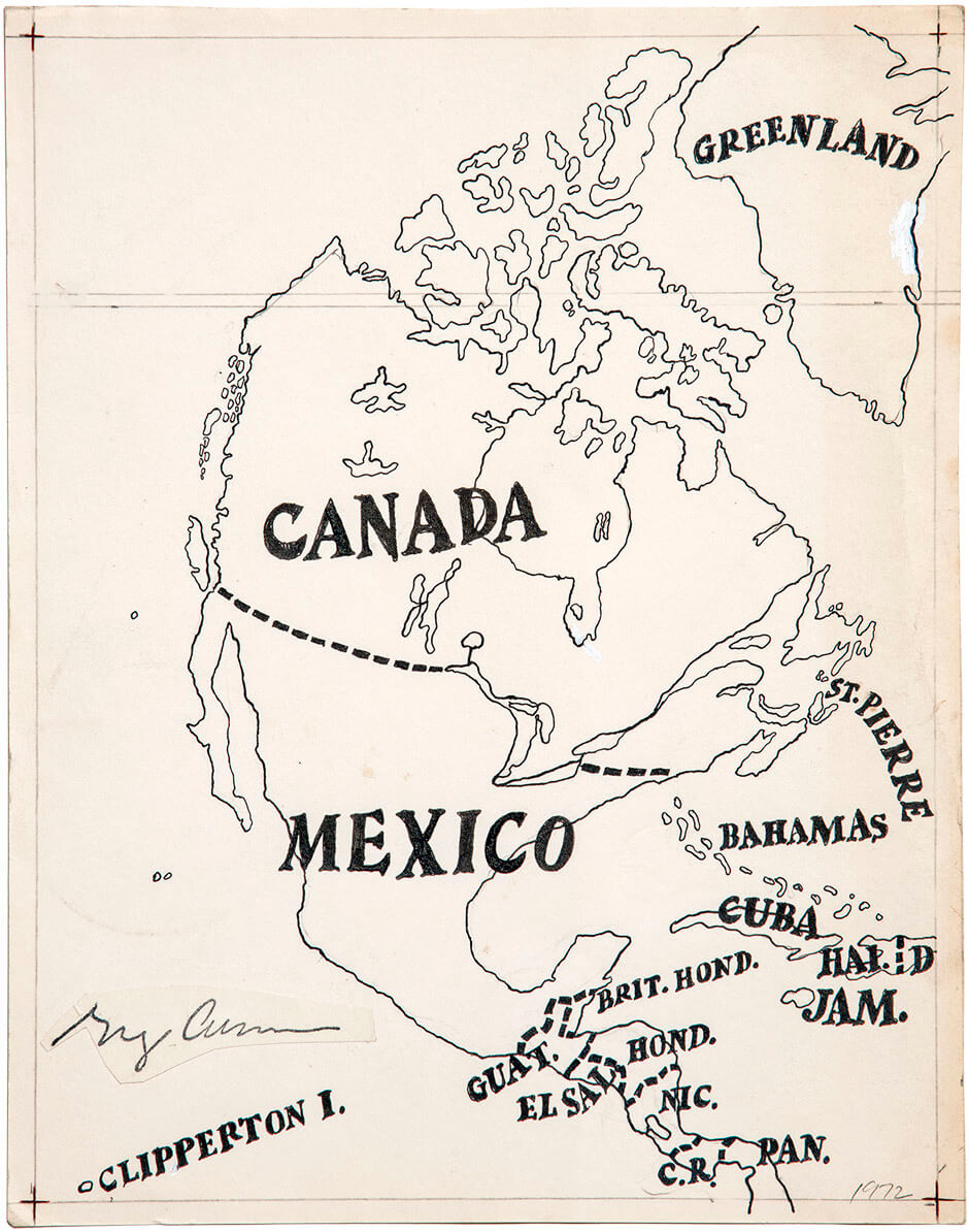 Greg Curnoe, Map of North America, 1972