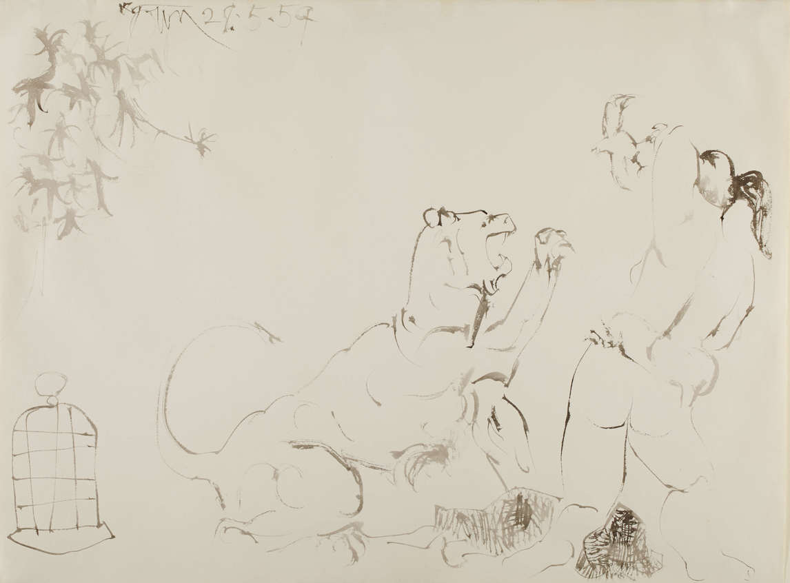 Art Canada Institute, Harold Town, Bacchante Threatened by a Panther, 1959
