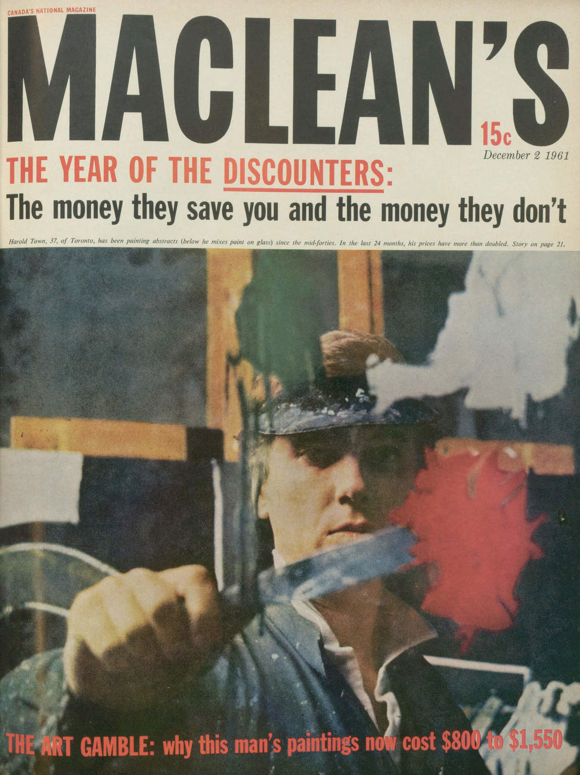 Art Canada Institute, Harold Town on the cover of Maclean's magazine, December 1961