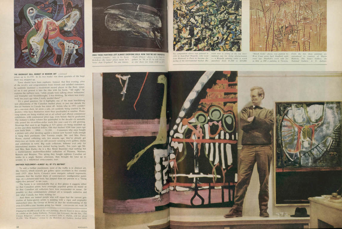 "Art Canada Institute, Harold Town featured in the issue's provocative article ""The Overnight Bull Market in Modern Art"""