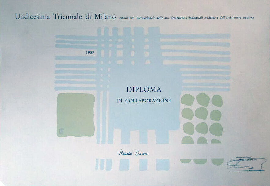 Art Canada Institute, A certificate presented to Town for his participation in the Milan Triennale, 1957