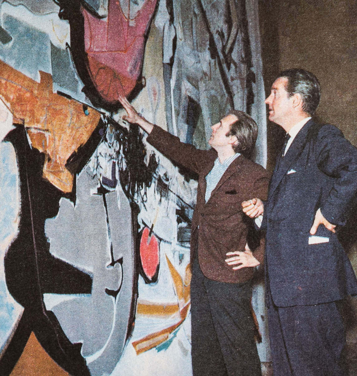 Art Canada Institute, Town in front of his monumental St. Lawrence Seaway mural, 1958