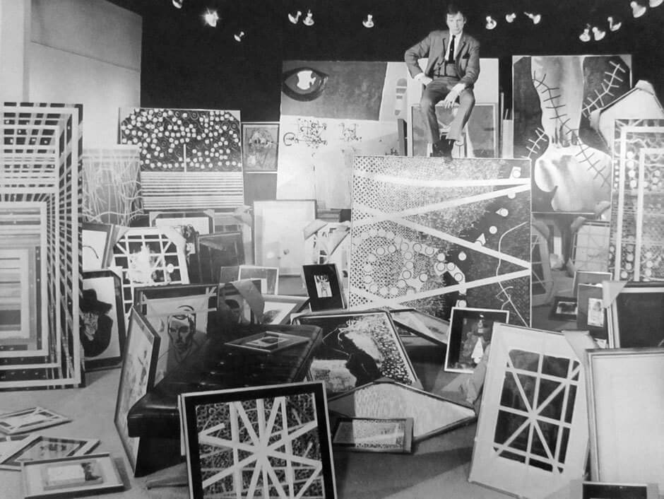 Art Canada Institute, Harold Town with his paintings at the Mazelow Gallery in Toronto in 1967