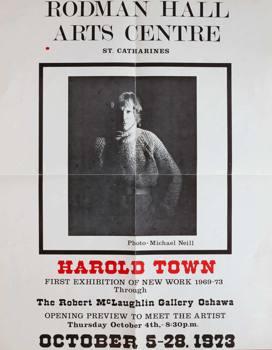 Art Canada Institute, Poster for the 1973 exhibition Harold Town: The First Exhibition of New Work, 1969–1973 at the Robert McLaughlin Gallery, Oshawa