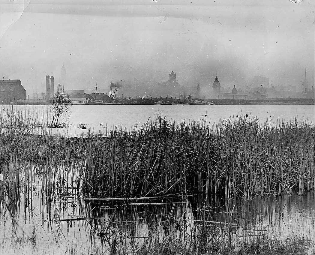 Views of the Toronto skyline such as this one, seen from Mugg's Island in 1907