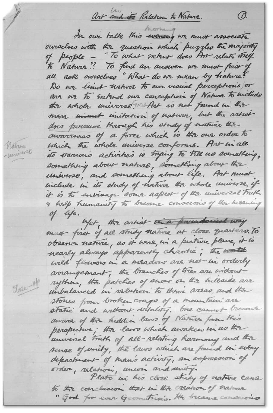 Art Canada Institute, Jock Macdonald, First page of the notes for a lecture, 'Art in Relation to Nature', first delivered by Jock Macdonald in February 1940