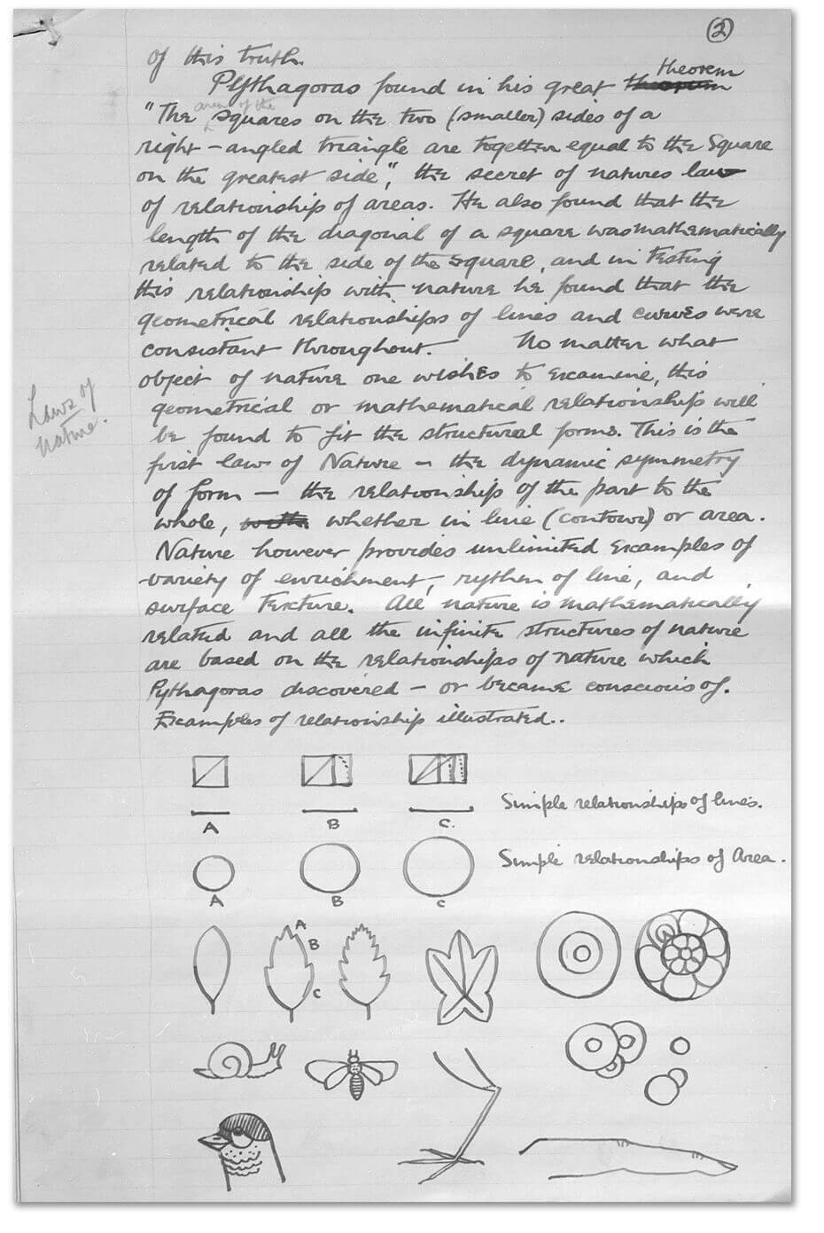 Art Canada Institute, Jock Macdonald, Second page of the notes for a lecture, 'Art in Relation to Nature', first delivered by Jock Macdonald in February 1940