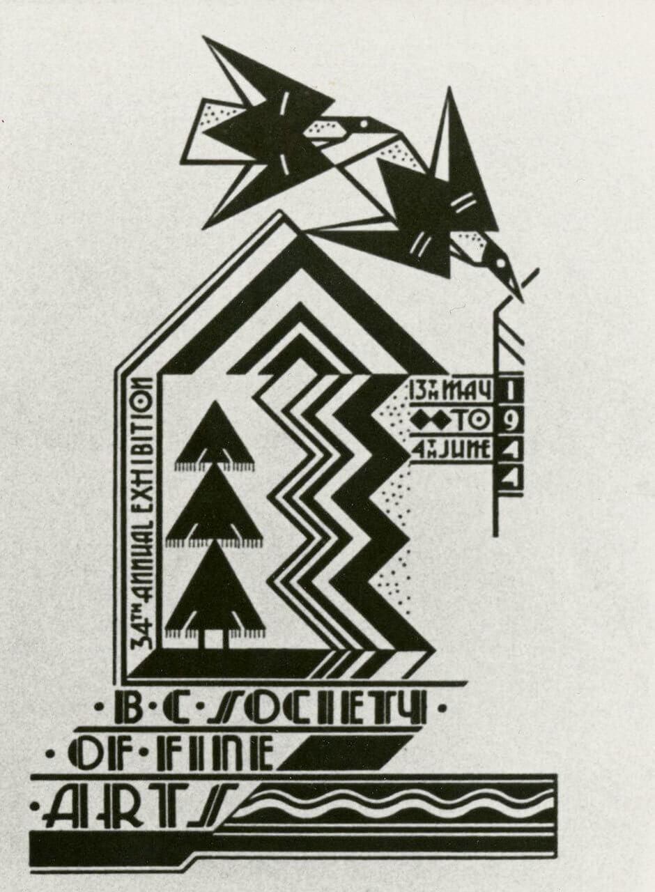 Art Canada Institute, Jock Macdonald, Jock Macdonald's design for the catalogue cover for the 34th Annual Exhibition of the British Columbia Society of Fine Arts, 1944
