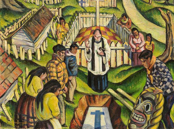Jock Macdonald, Enterrement indien, Nootka, 1937