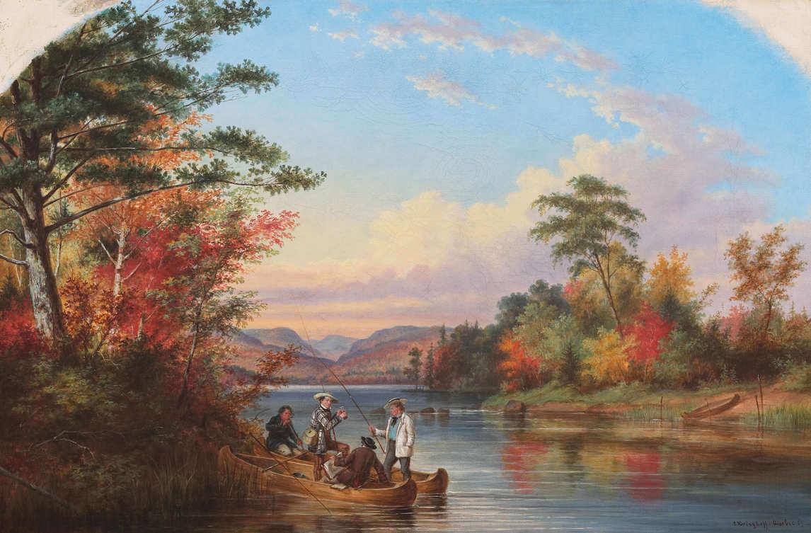Art Canada Institute, Zacharie Vincent, The Narrows on Lake St. Charles, 1859, by Cornelius Krieghoff.
