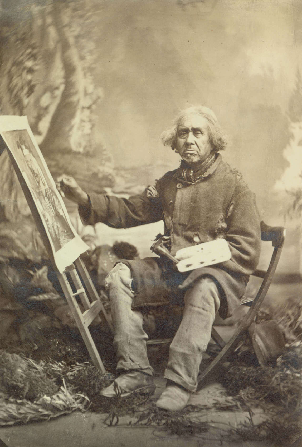 Art Canada Institute, Zacharie Vincent, Vincent seated at his easel, at work on a self-portrait, c. 1875–78