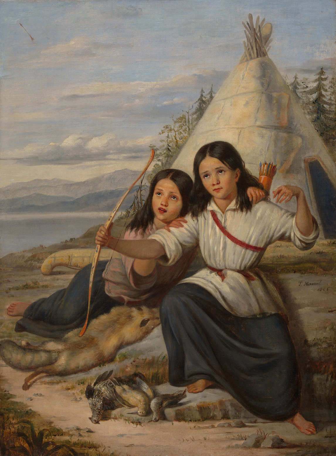 Art Canada Institute, Zacharie Vincent, Young Indian Girls in Lorette, 1865, Théophile Hamel
