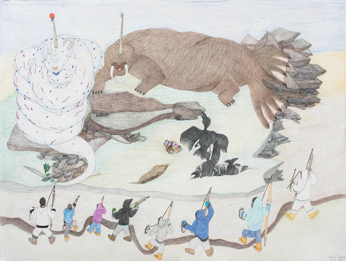 Art Canada Institute, Shuvinai Ashoona, Hunting Monster, 2015