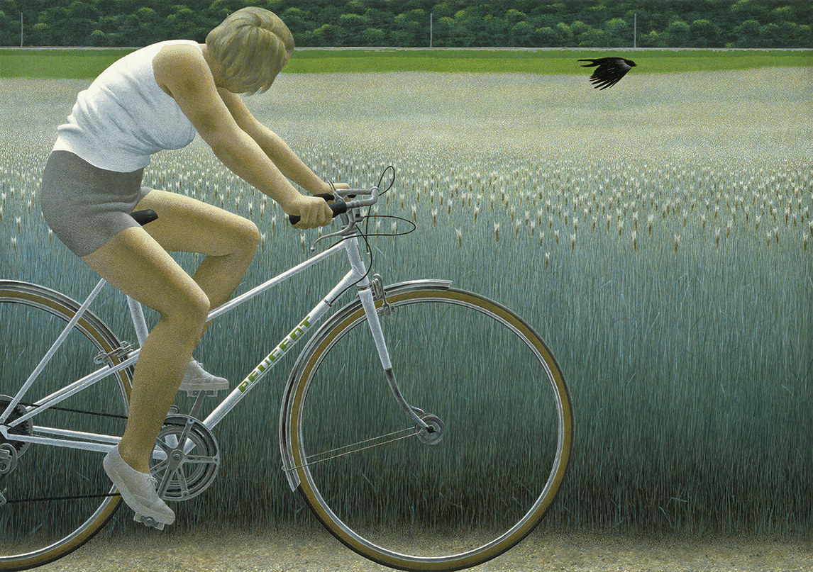 Art Canada Institute, Alex Colville, Cyclist and Crow (Cycliste et corbeau), 1981