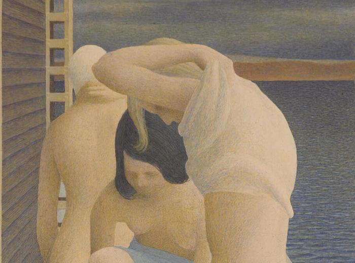 Alex Colville,Three Girls on a Wharf, 1953