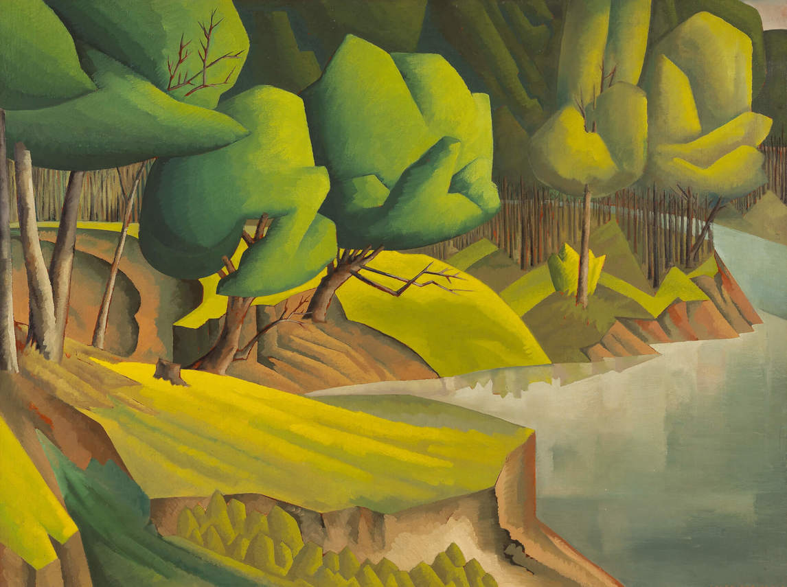 Art Canada Institute, Caven Atkins, Landscape with River, Beausejour, Manitoba, 1937