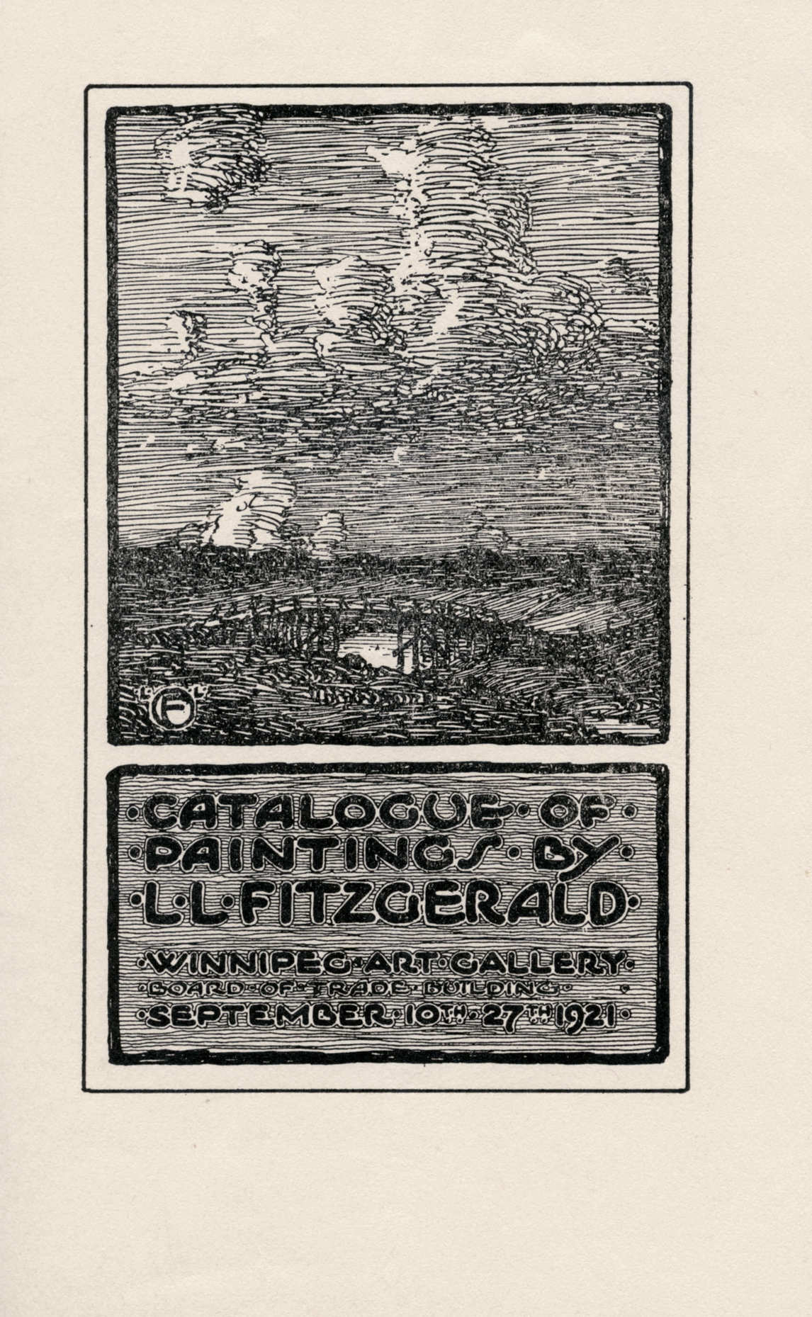 Art Canada Institute, Lionel LeMoine Fitzgerald, Cover of Catalogue of Paintings by L.L. FitzGerald, Winnipeg Art Gallery, Board of Trade Building, Sept. 10–27, 1921