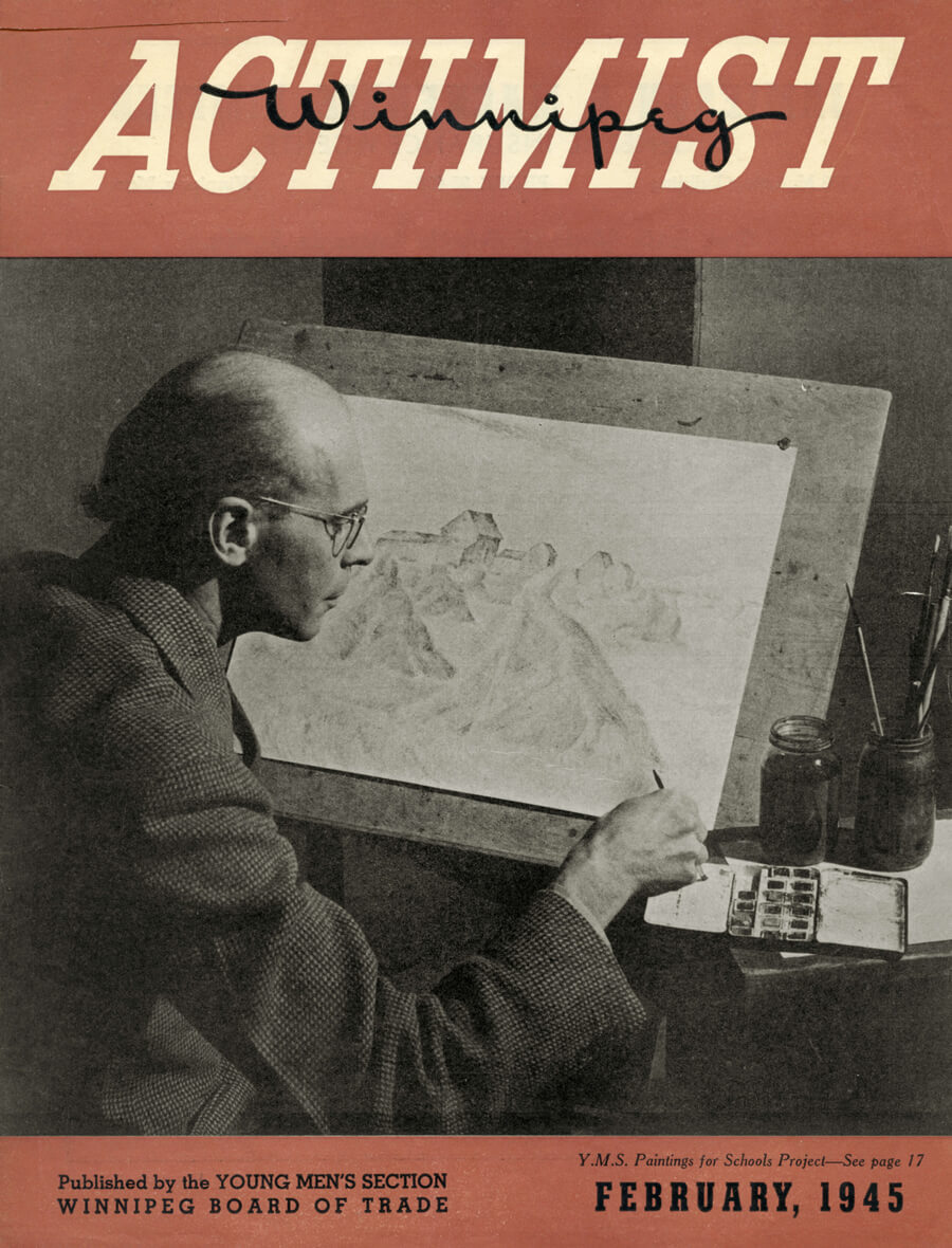Art Canada Institute, Lionel LeMoine Fitzgerald, Cover of the Winnipeg Actimist (February 1945)