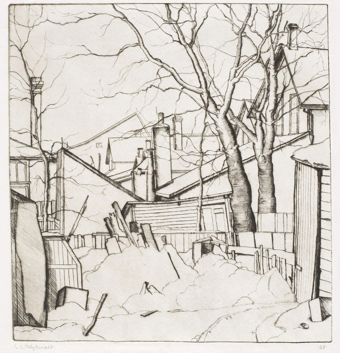 Art Canada Institute, Lionel LeMoine Fitzgerald, Backyards, Water Street, 1927, State VI/VI