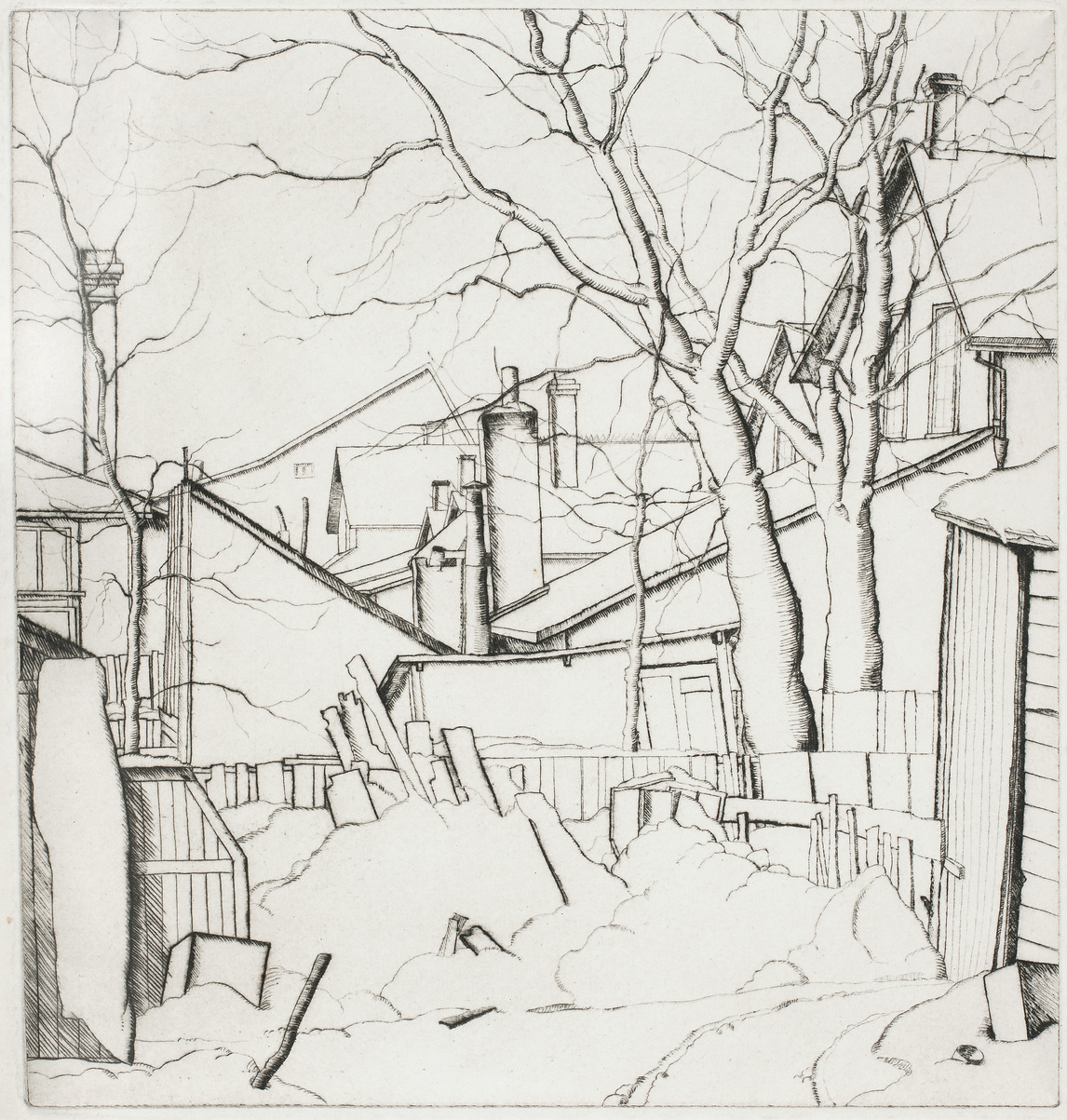 Art Canada Institute, Lionel LeMoine Fitzgerald, Backyards, Water Street, 1927, State III/VI