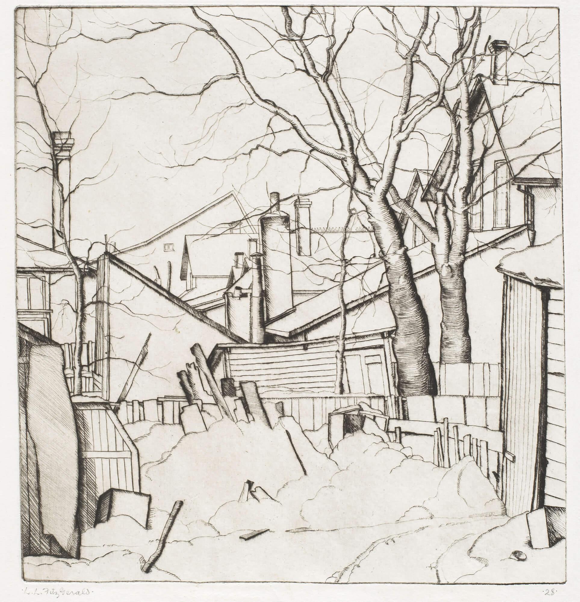 Lionel LeMoine FitzGerald, Cours arrières, rue Water, 1927