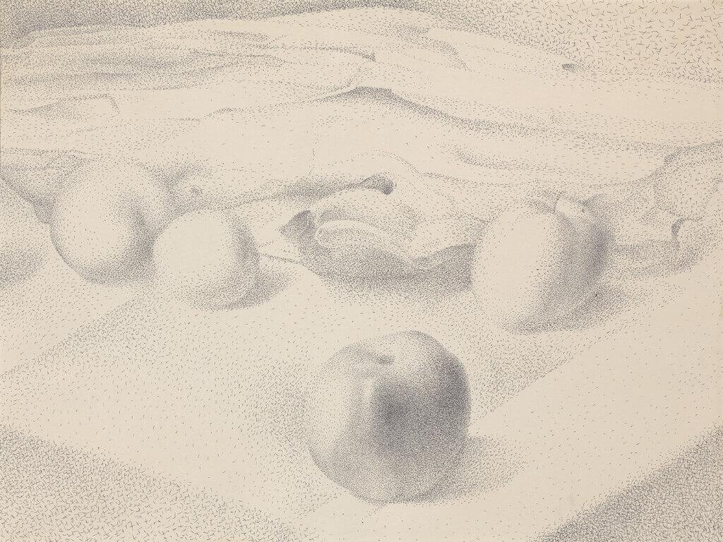 Lionel LeMoine FitzGerald, Four Apples on Tablecloth, December 17, 1947
